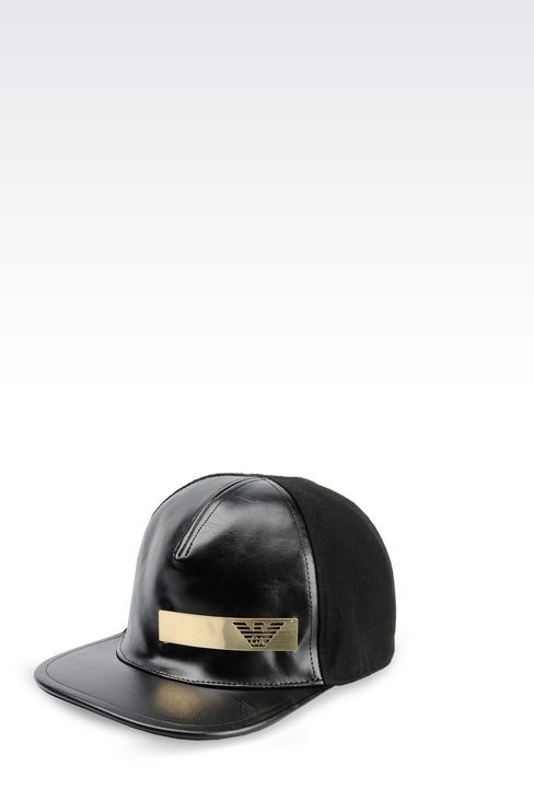 c72629c4 Emporio Armani Men Hat - BASEBALL CAP IN FAUX LEATHER AND FABRIC Emporio  Armani Official Online Store
