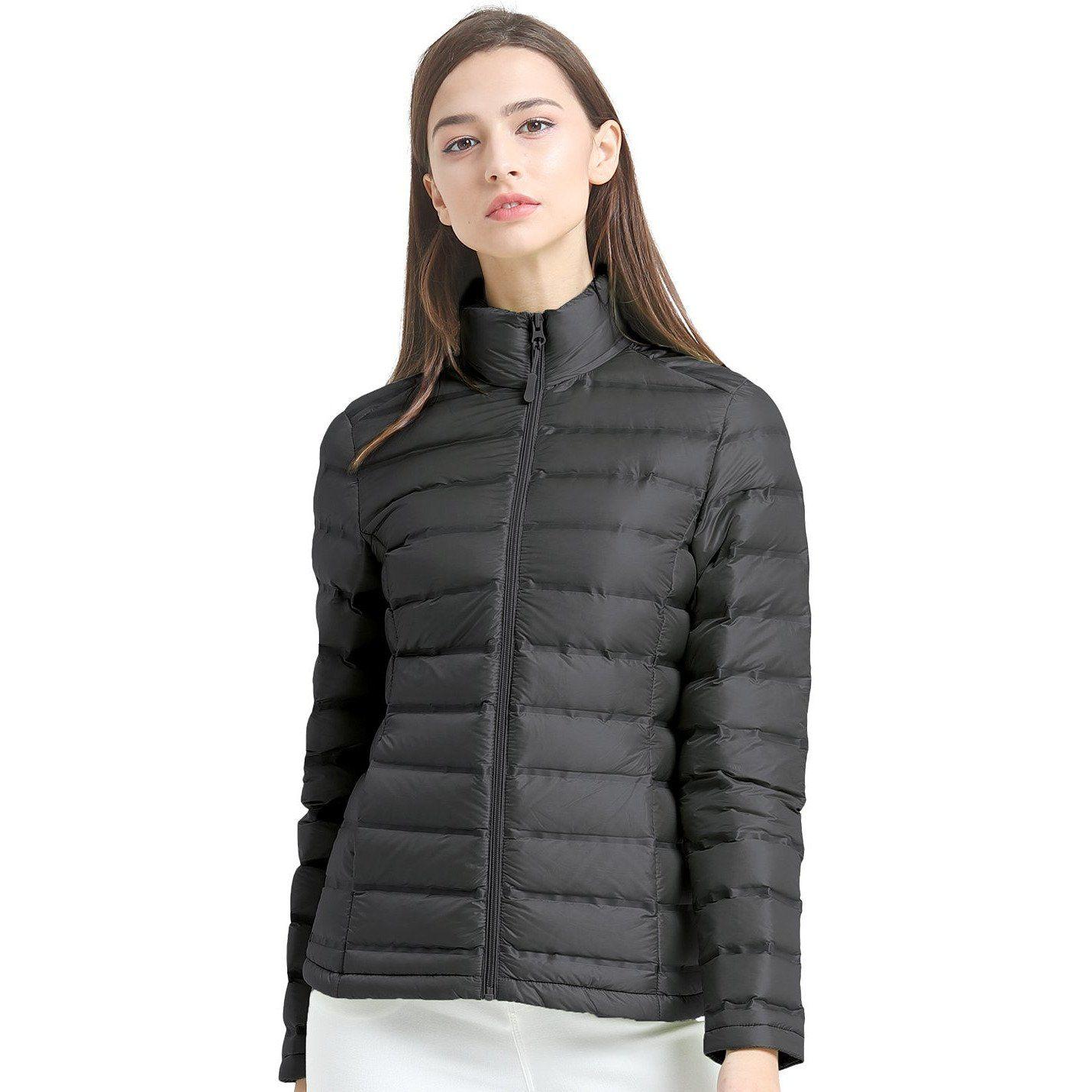 Large Purple Essentials Womens Lightweight Water-Resistant Packable Hooded Down Jacket