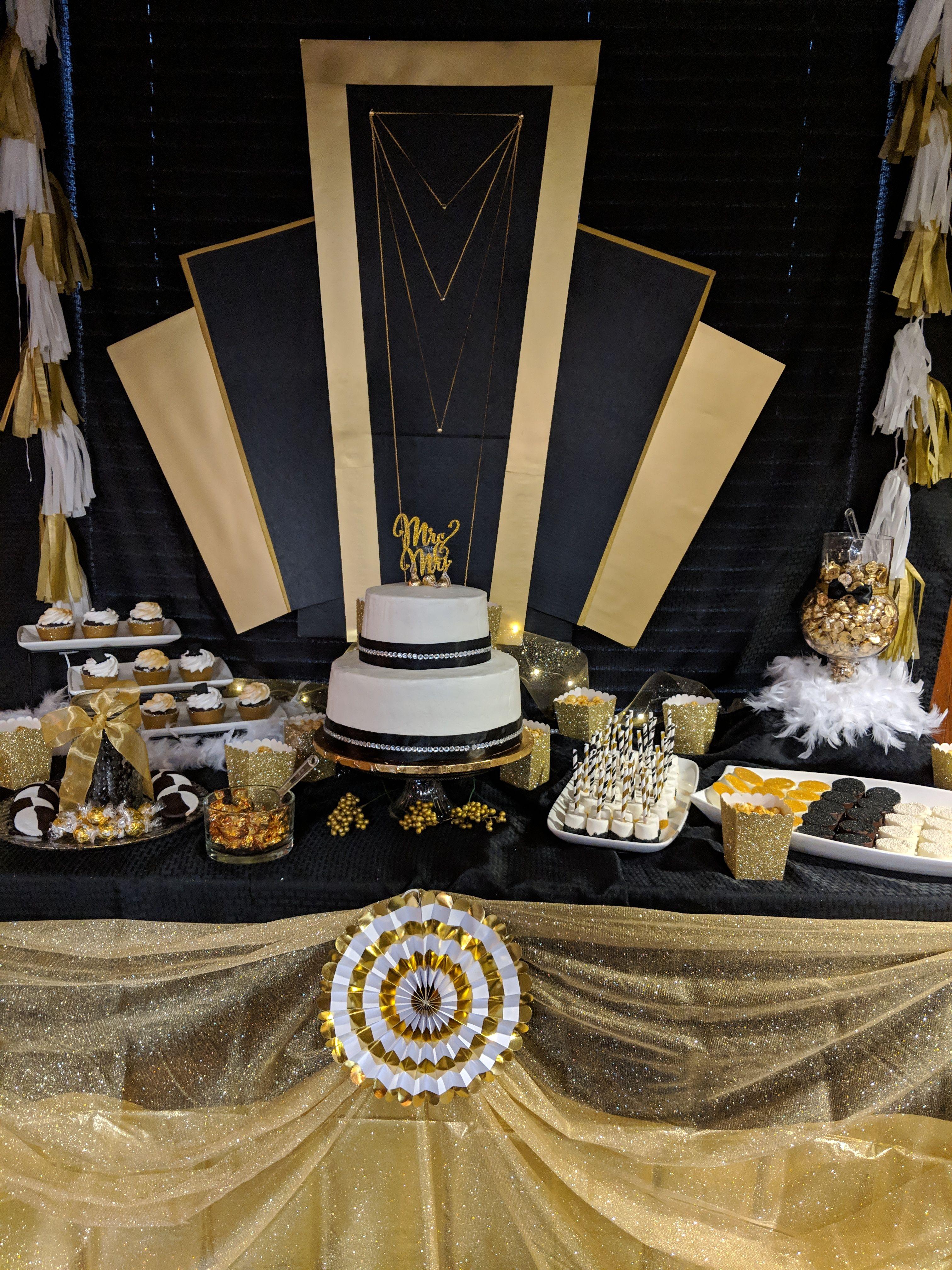 Gold Black White Party Chicago Theme Dessert Table Black