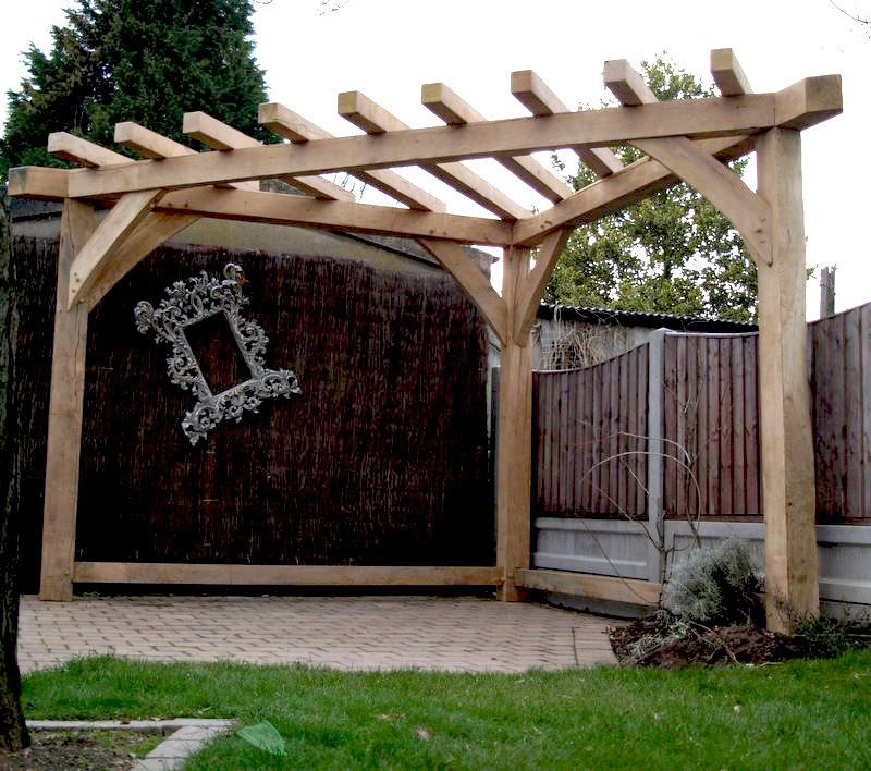 OAK PERGOLA HANDMADE Corner gazebo Wood garden furniture garden