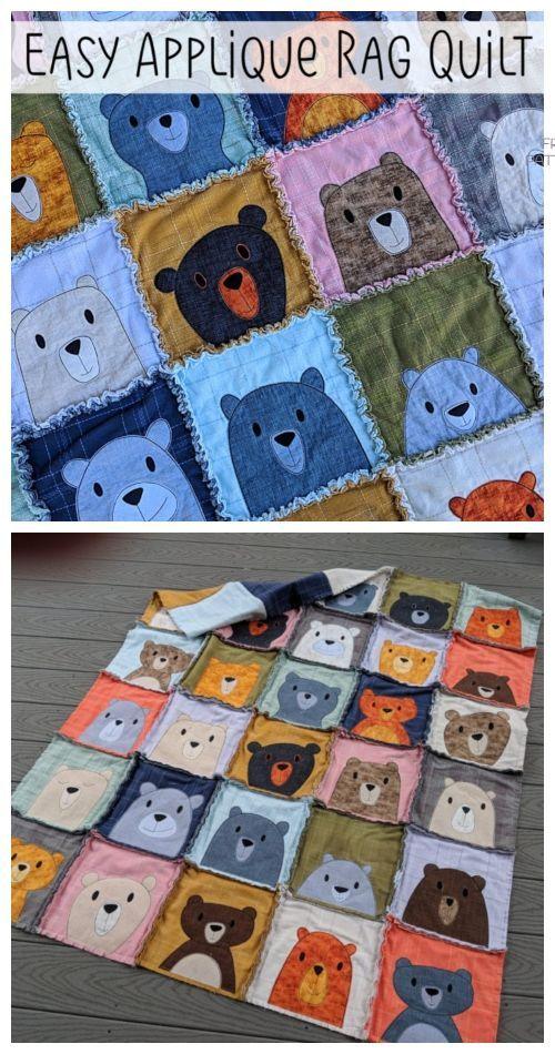 DIY Easy Applique Rag Quilt Blanket Tutorials #Blanket #DIY #Easy #Quilt #Rag #Tutorials
