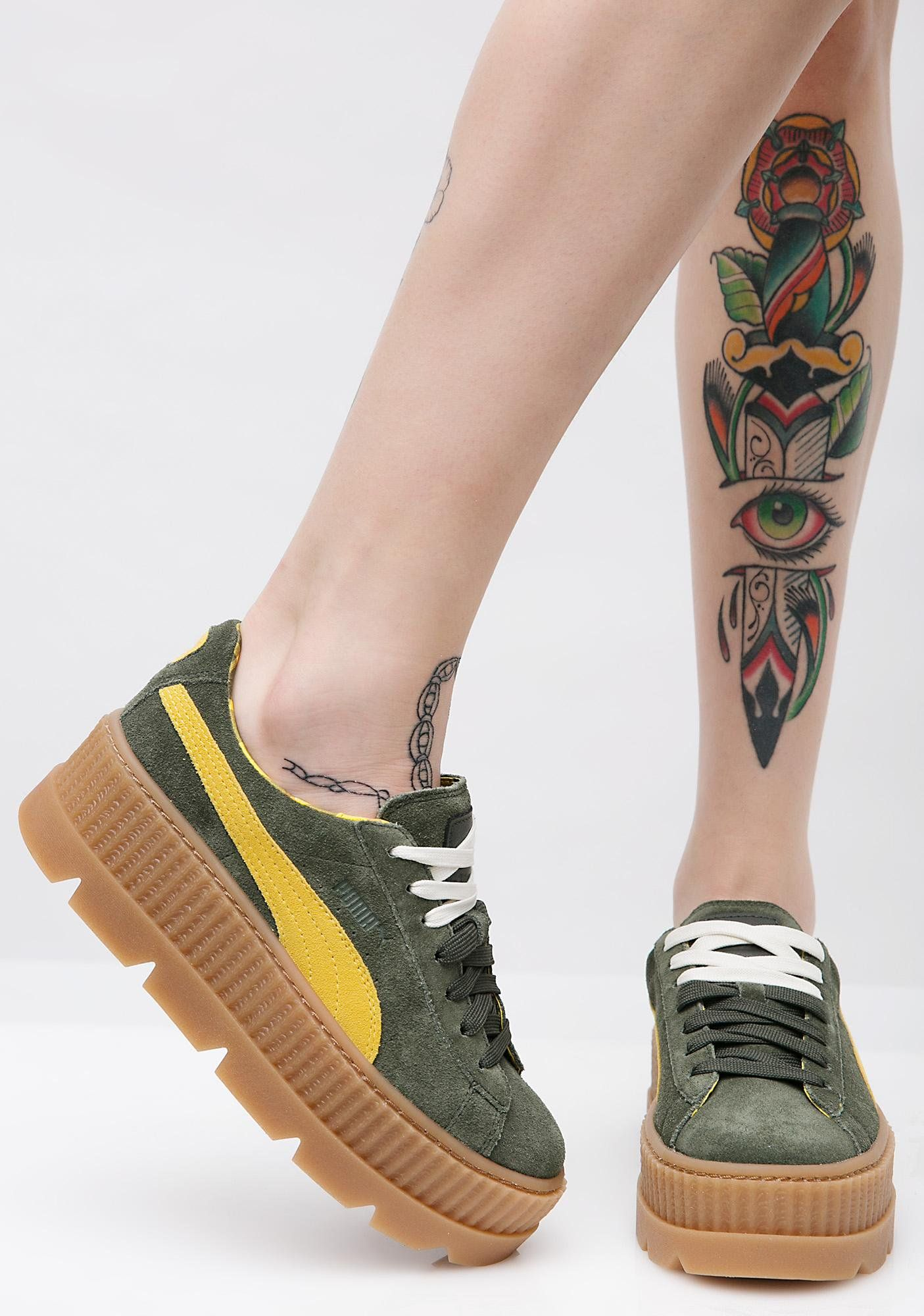 8c6dd16422b PUMA Pine FENTY PUMA By Rihanna Cleated Suede Creepers will take ya up a  notch. These green platform creeper sneakers have thikk cleated soles and a  lace-up ...