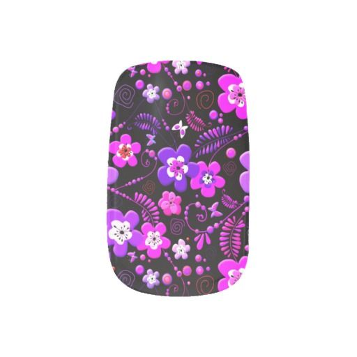 Retro floral pattern pink and purple nails