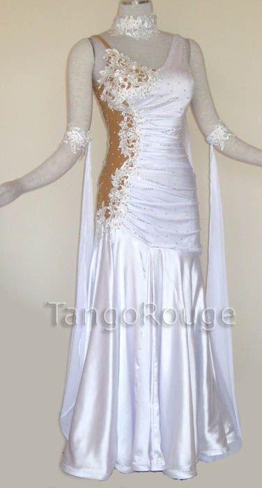 82819431ae66 Ballroom Dance Waltz Dresses | White Ballroom Viennese Waltz Dance Wedding  Dress - TangoRouge .