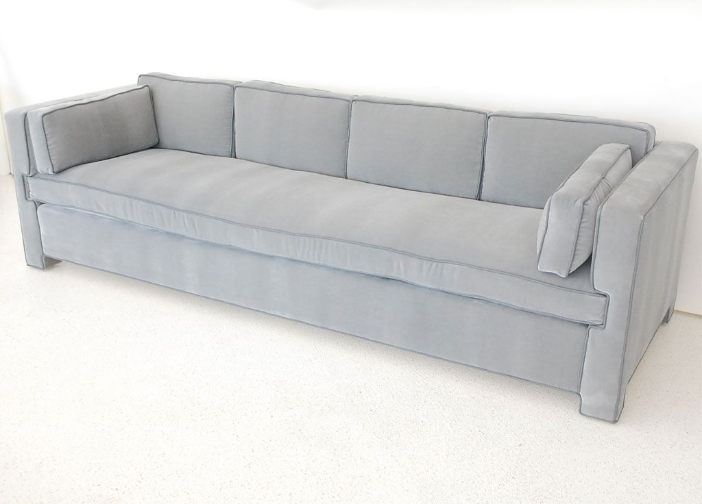 Handsome Tailored Single Cushion Sofa In Mohair And Leather Image 3