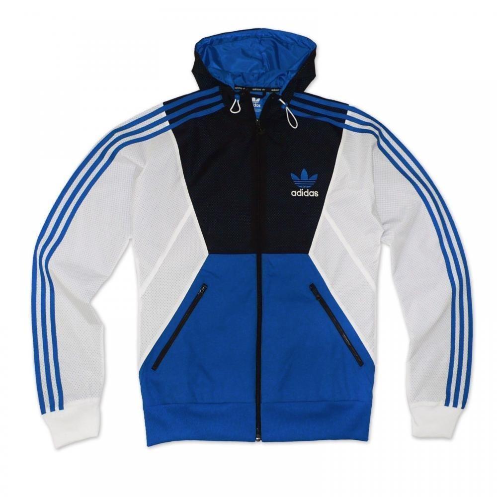 Adidas originals full zip blue black white hooded windbreaker jacket Z66077