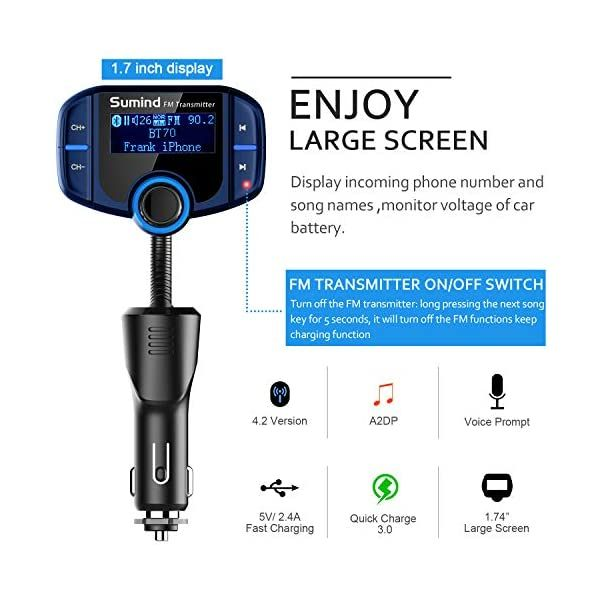 Sumind Car Bluetooth FM Transmitter Wireless Radio Adapter Hands-Free Kit