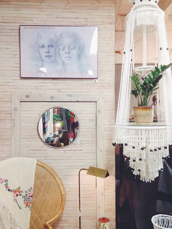 Giant Vintage 1970 S Macrame Hanging Shelf And Planter 6