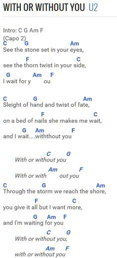 U2 - With Or Without You | Partitions | Pinterest | Guitars, Songs ...