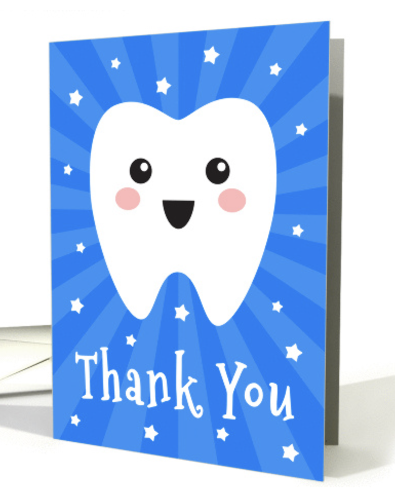 Thank You Dentist Card With Happy Tooth Blue Sunburst Card Sunburst Cards Cards Folded Cards