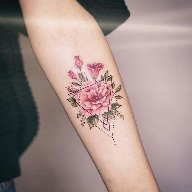 5. Blumentattoo mit geometrischem Muster  #flowertattoos - flower tattoos #flowerpatterndesign