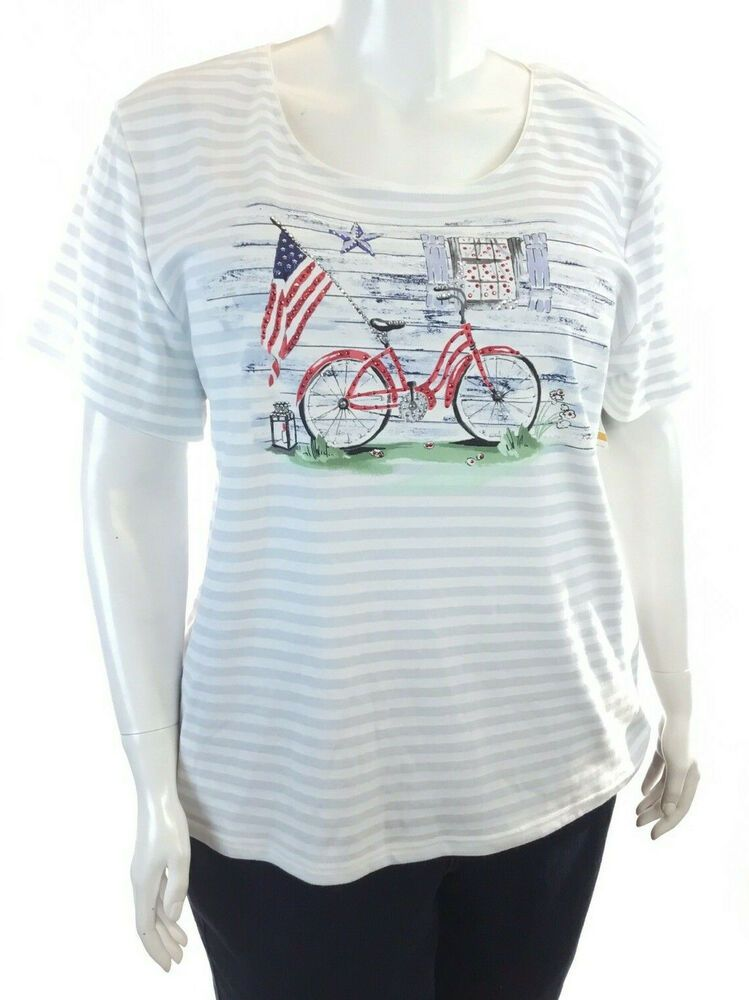 0caa2240a1f61 KAREN SCOTT Plus Size Blue Striped Short Sleeve Bicycle Graphic T-Shirt  #affilink