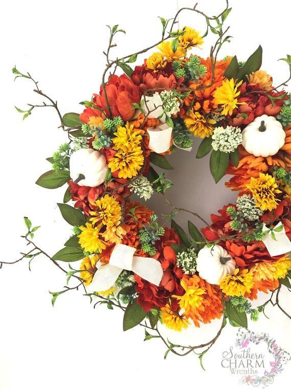 Fall Pumpkin Wreath, Fall Leaf Wreath, Autumn Home Décor, Vintage Truck Wreath, Green Truck…
