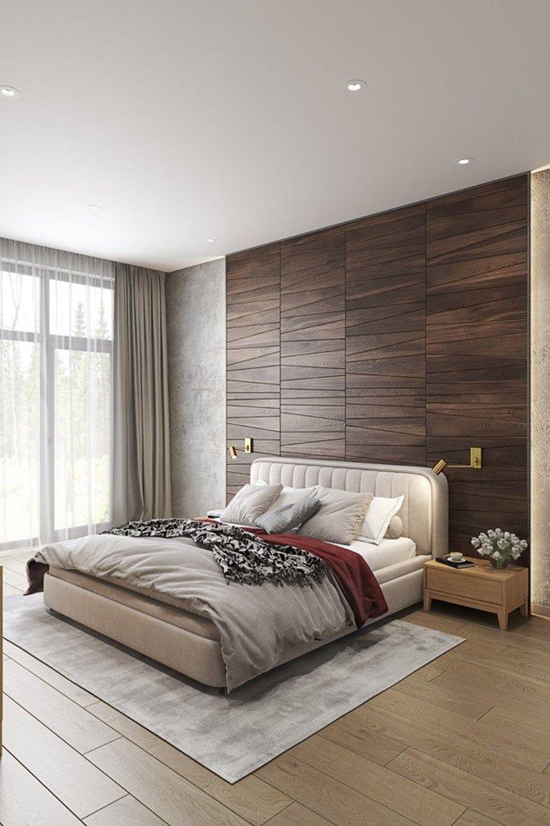 Trapezium Wooden Wall Panel Etsy In 2021 New Bedroom Design Modern Bedroom Interior Luxury Bedroom Design Wooden interion bedroom design