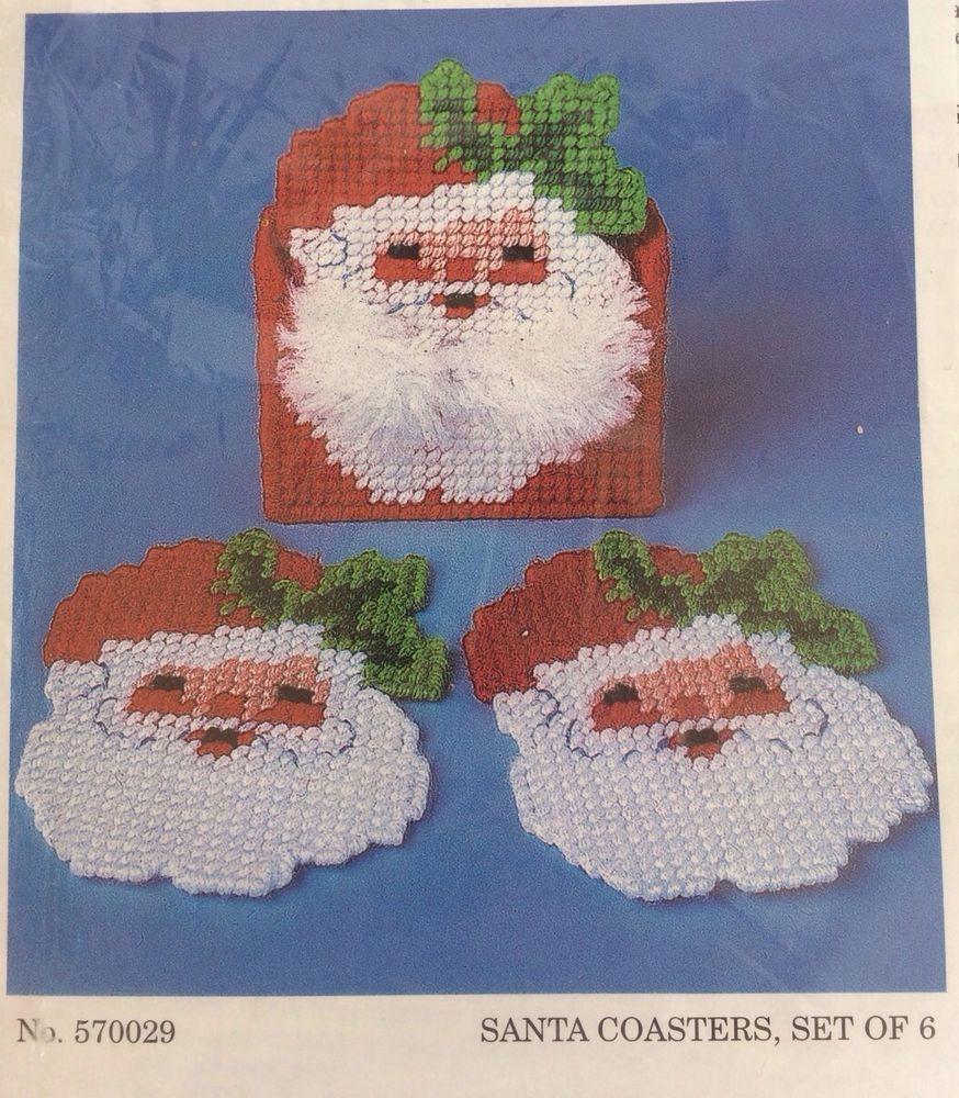 Herrschners Plastic Canvas Kit Santa Coasters Vintage Christmas Craft Needle #Herrschners