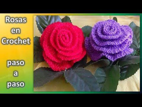 Rosa a crochet paso a paso San Valentín - YouTube | flores ...