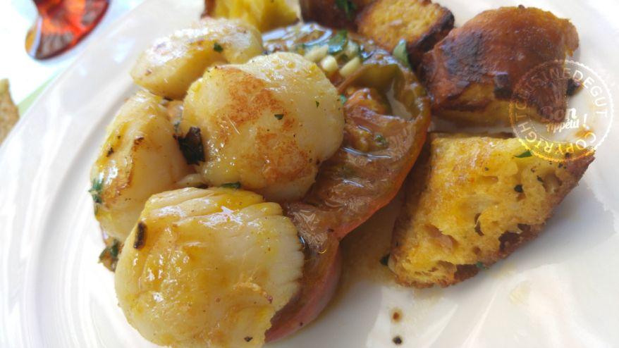 Noix de st Jacques tomates et pain au Mäis à la plancha1