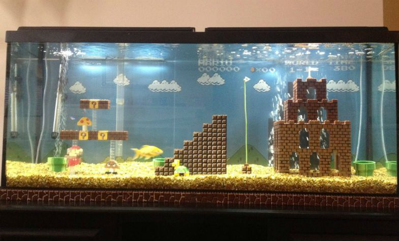 20 Pieces Of Video Game Themed Home Decor That Take Creativity To The Next Level Fish Tank Themes Cool Fish Tanks Small Fish Tanks