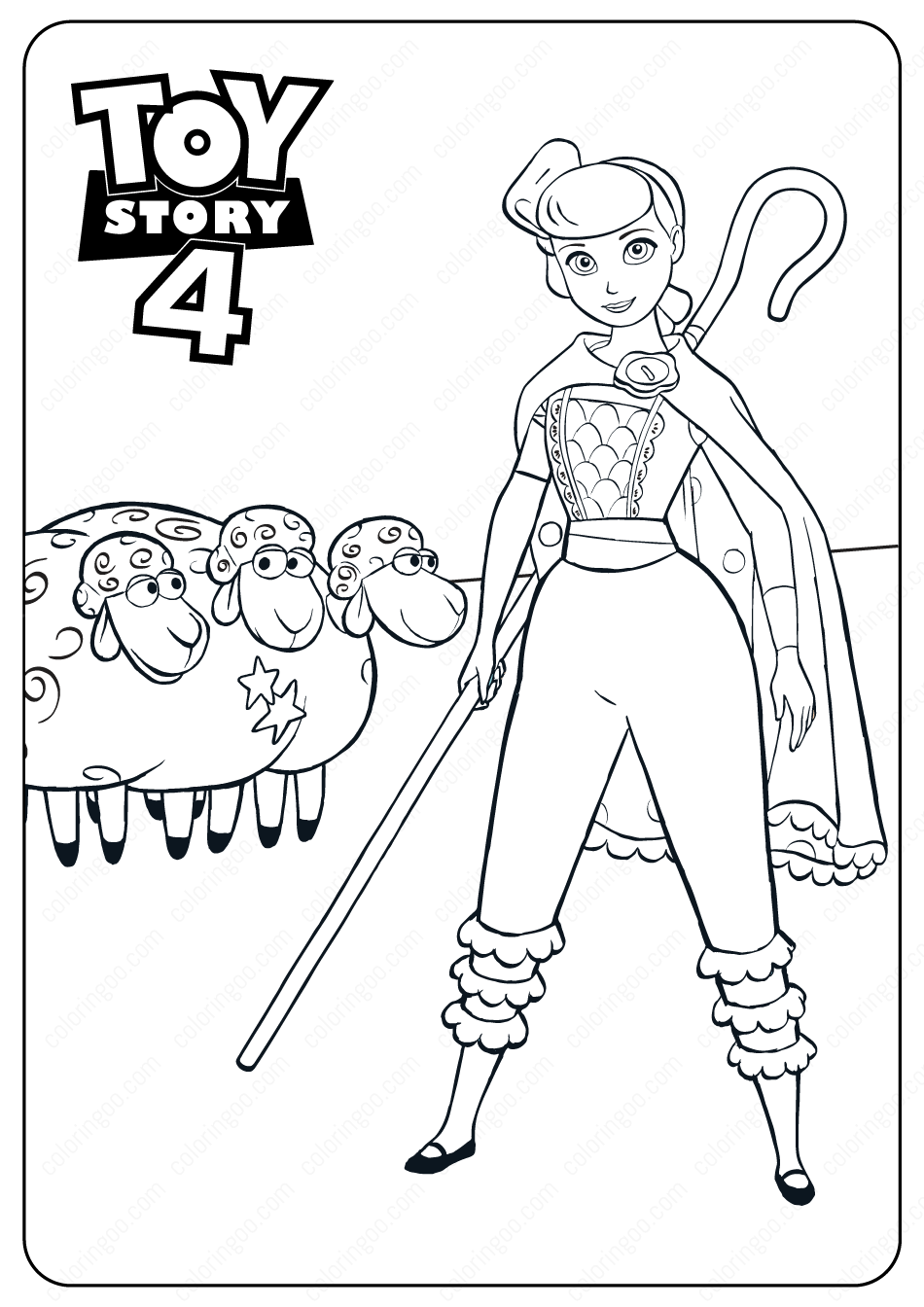Free Printable Toy Story 4 Bo Peep PDF Coloring Pages in