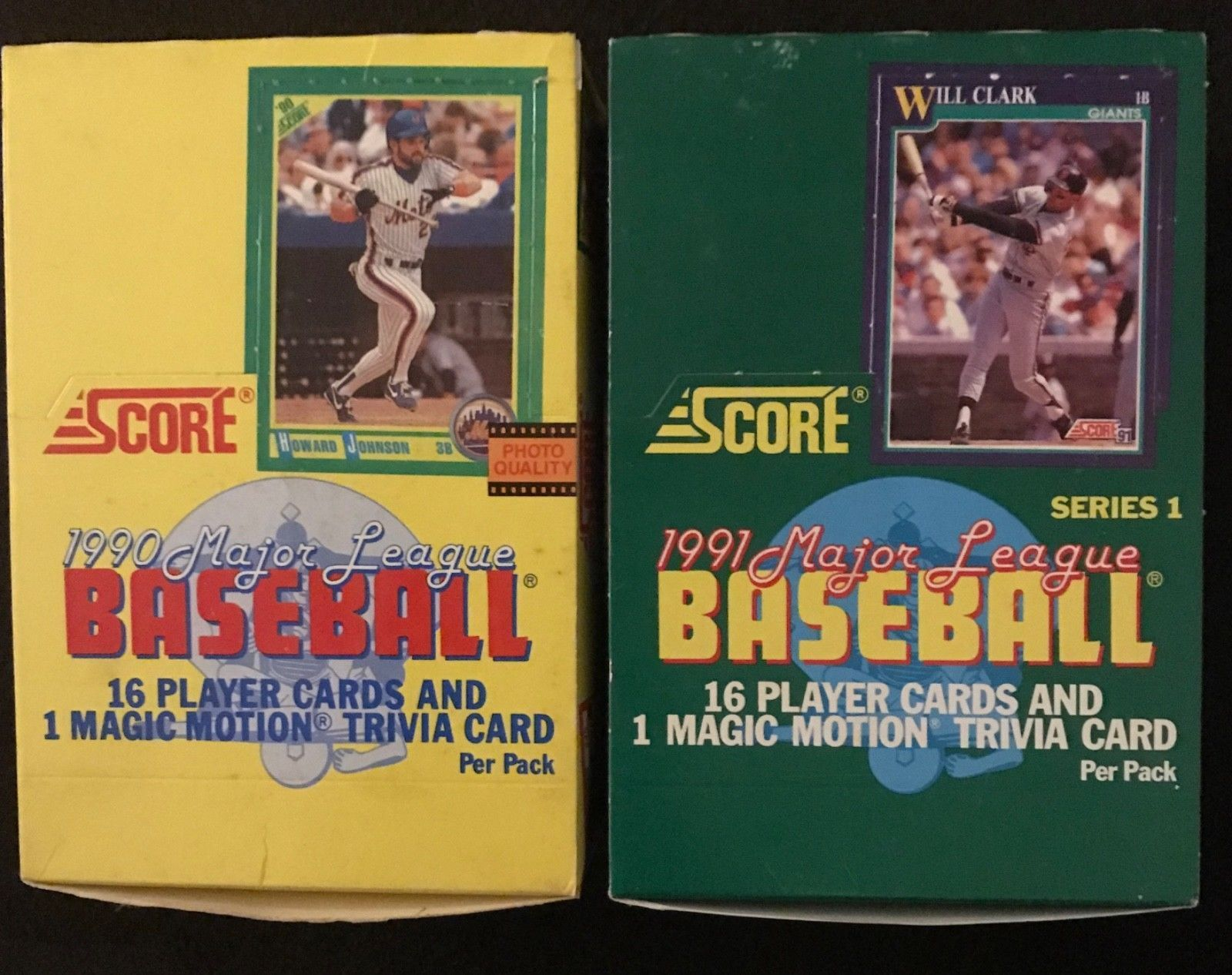 1990 and 1991 score baseball card boxes lot of 2