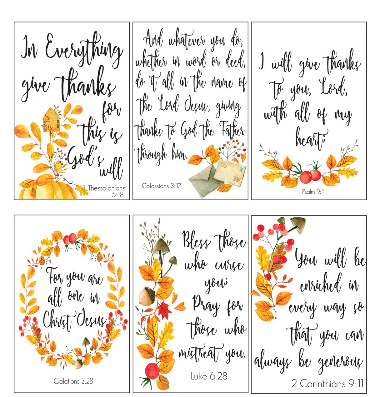 Scripture Cards On Gratitude And Hospitality