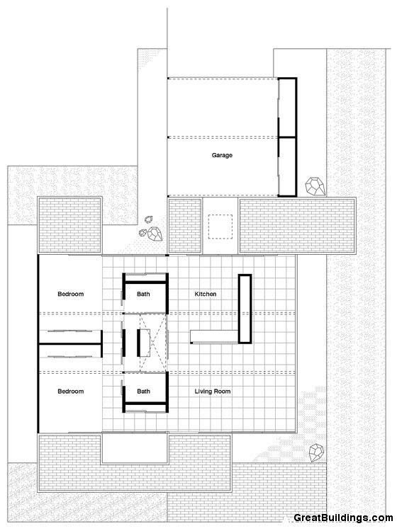 Great Buildings Drawing - Bailey House, Case Study House No. 21 ...