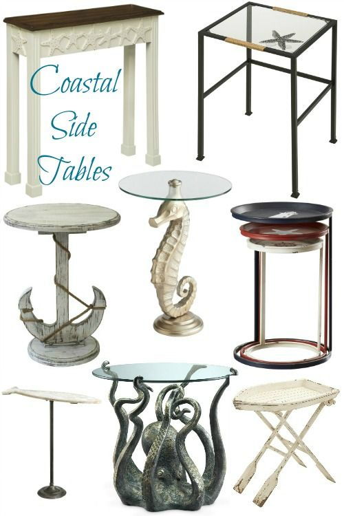 Unique Furniture Round Glass Top Side Table Octopus Nautical Beach Patio Decor