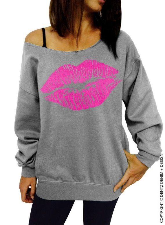 Lips Kiss - Valentine s Day Kiss Shirt Lipstick Gift for her Women s  Clothing Off the Shoulder Slouc 82877d3109d