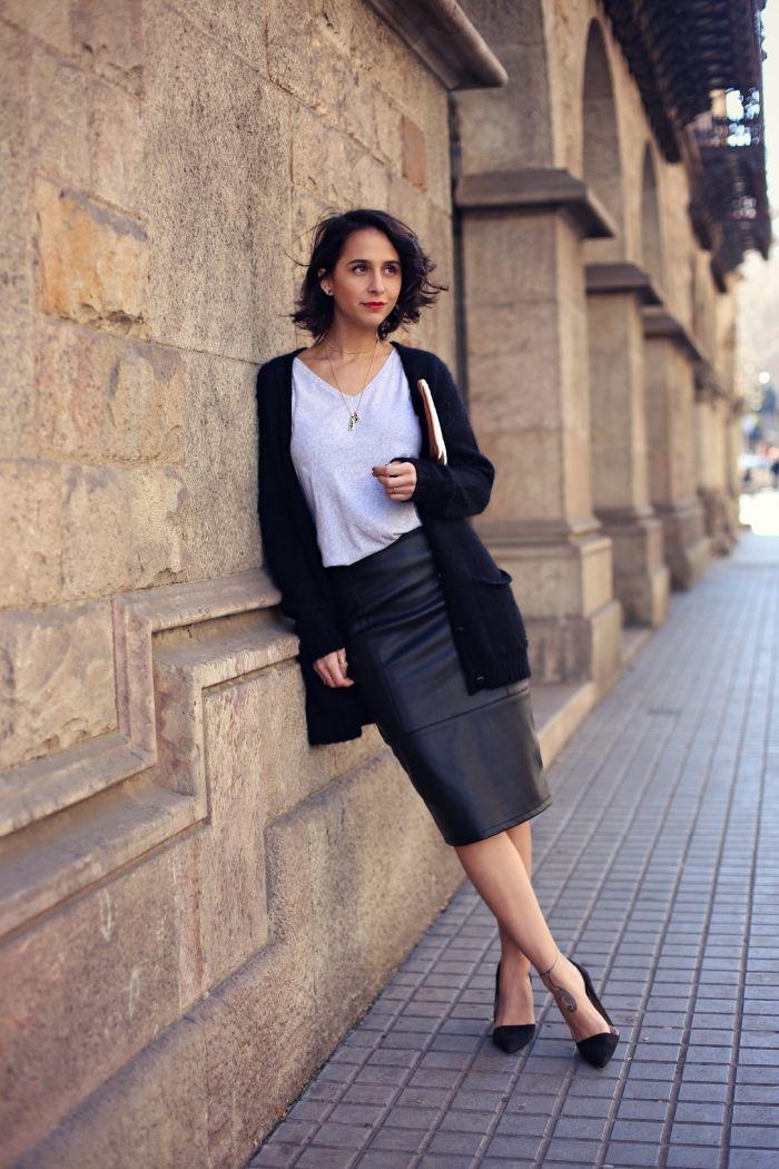 ENERO-falda-lapiz-tubo-piel-cuero-negra  af06f05e2b45