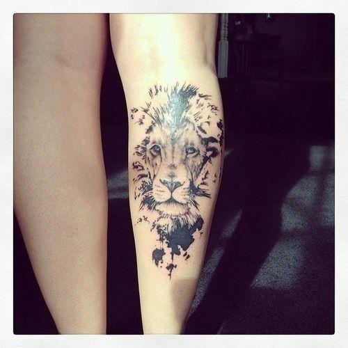 Lion Tattoo On Leg http://tattoos-ideas.net/lion-tattoo-on-leg/ Black Ink, Leg Tattoos