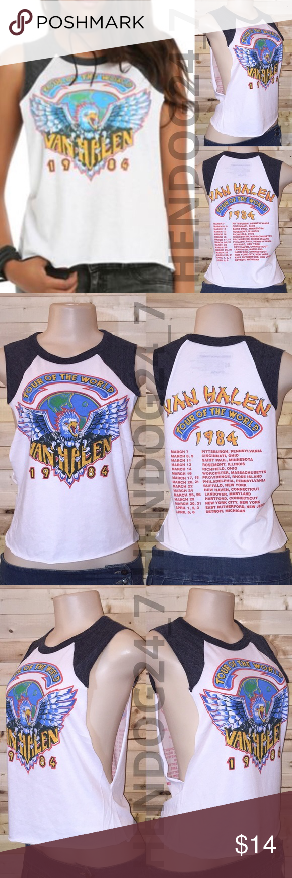 HOT TOPIC VAN HALEN EAGLE 1984 WOMEN'S MUSCLE TEE NEW WITHOUT TAGS - NEVER WORN - OVERSTOCK ITEM - LINE THROUGH BRAND  LABEL  HOT TOPIC VAN HALEN EAGLE 1984 WOMEN'S MUSCLE TEE -ROUGH HEMS  -SIZE X-SMALL -BRAND: LIVE NATION MERCHANDISE -COLOR: WHITE FRONT, HEATHER CHARCOAL TEE, MULTI COLOR GRAPHIC -RIBBED CREW NECK -SLEEVELESS TANK TOP -ROUGH UNFINISHED HEMS -MATERIAL: 50% POLYESTER, 37% COTTON, 13% RAYON -MACHINE WASH COLD -MADE IN GUATEMALA Hot Topic Tops Muscle Tees