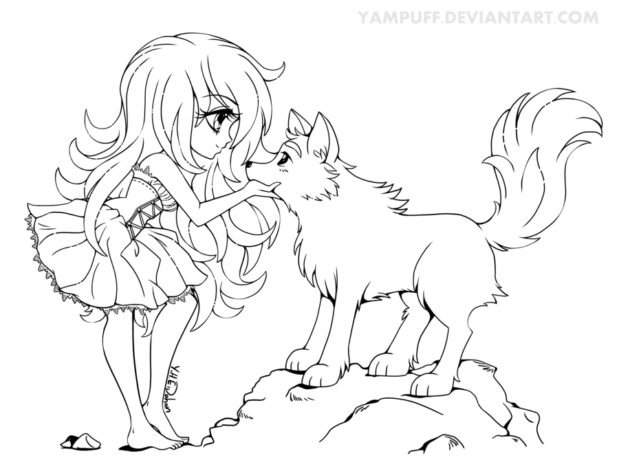 Chibi with Wolf - Lineart Commission by YamPuff.deviantart.com on ...