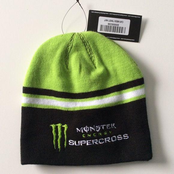Monster Supercross Beanie Hat Unisex Black & Green Monster Drink logo cute Supercross Beanie Hat Monster Accessories Hats
