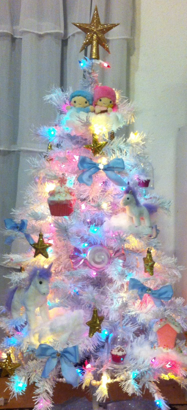 Christmas Tree Decorations Fluffy Unicorn Ornaments Fur Ball Pom Pom Horse Pendant New Year Gifts Decorations 2019 Little Twin Stars Christmas Tree Pastel Christmas Tree Unicorn