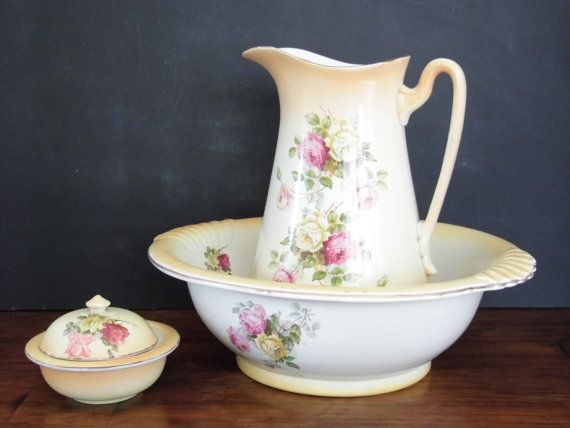 Victorian wash bowl pitcher and soap dish set by OrchardHearts