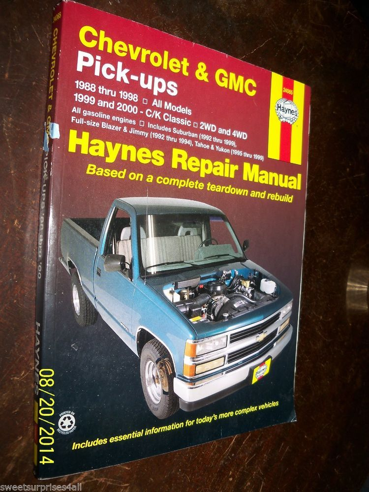 haynes service repair workshop manual book chevrolet gmc pickups rh pinterest com 2000 Chevy Pick Up Truck 1995 Dodge Pick Up
