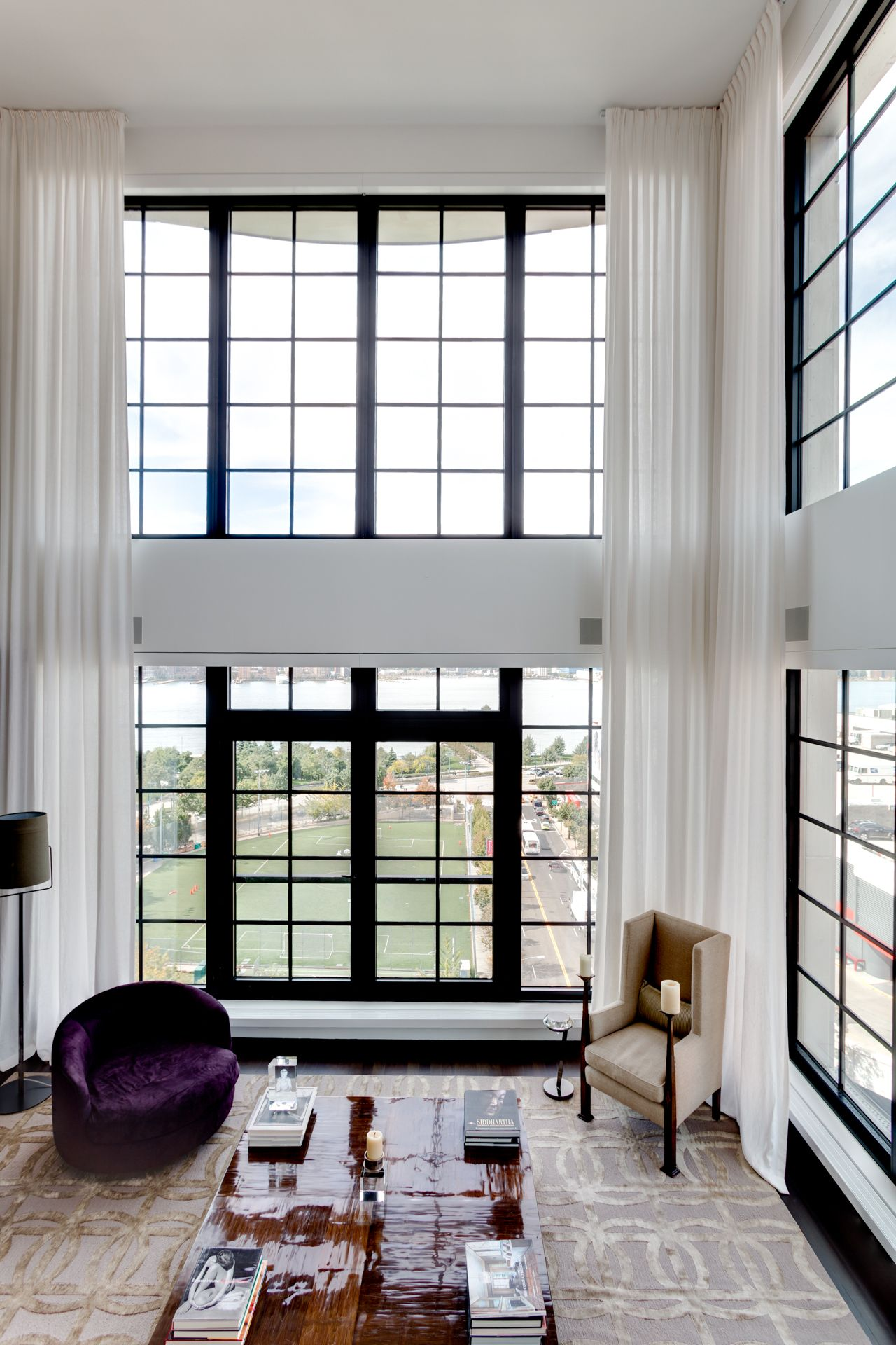 Motorized sheer curtains installed at this beautiful living room ...
