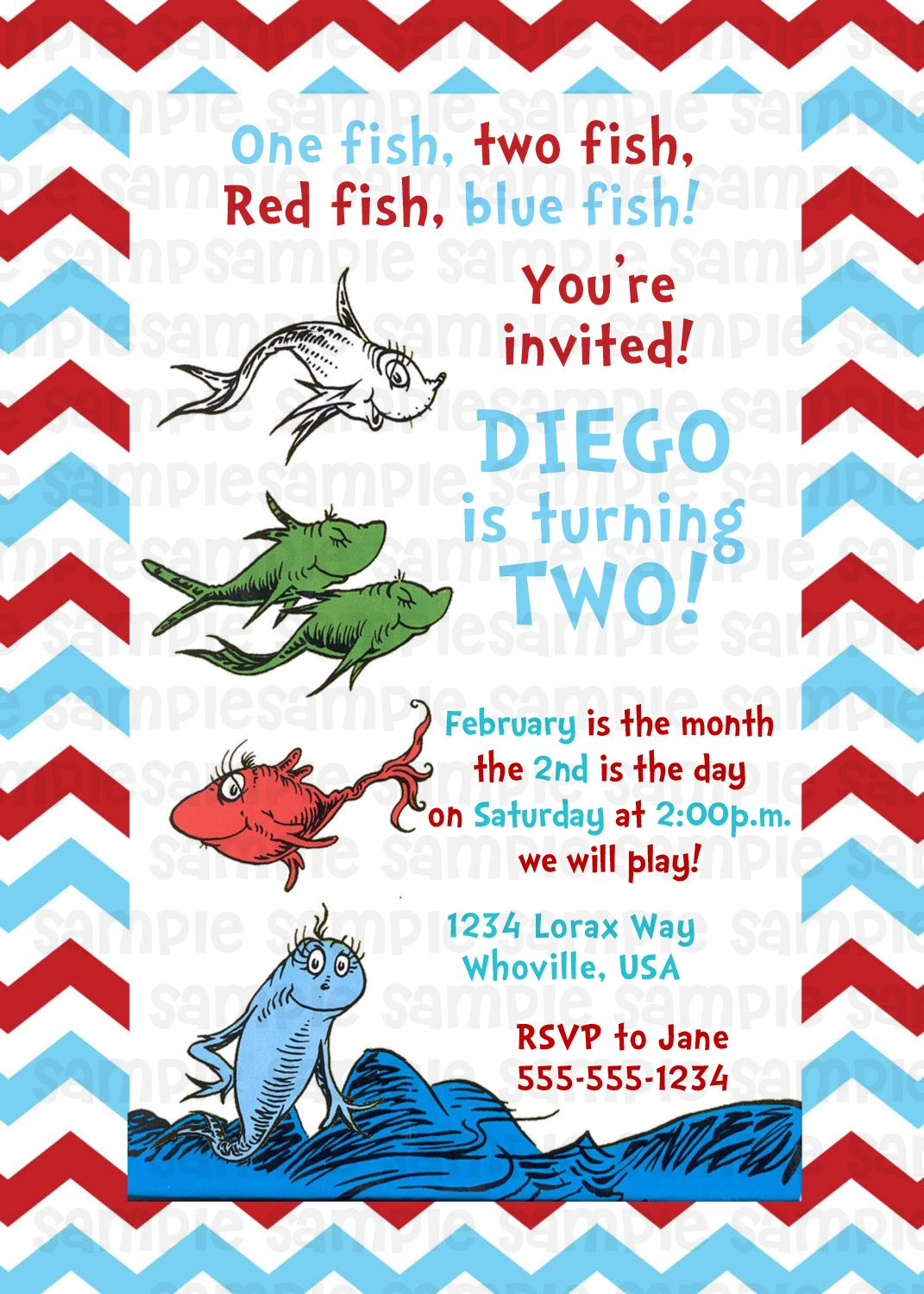 Dr Seuss One Fish Two Fish Birthday Invitation $11 | Kids Birthday ...