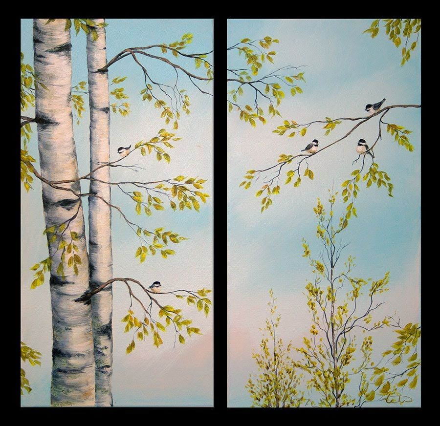 A video demonstration of how i paint birch trees full for How to paint a tree