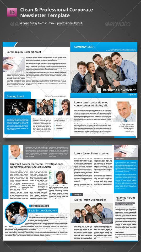 Clean Corporate Newsletter Template InDesign INDD. Download here ...
