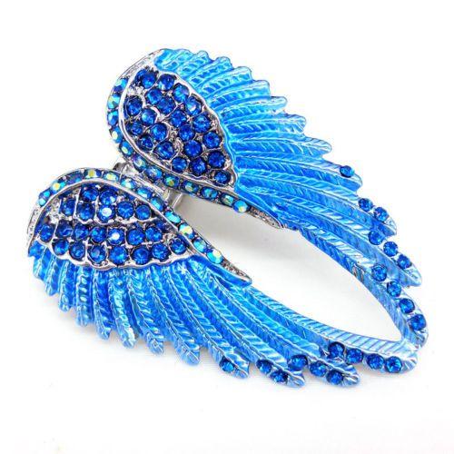 Lovely-Blue-Angel-Wing-5-5cm-Long-Use-Swarovski-Crystal-Stretchy-Ring