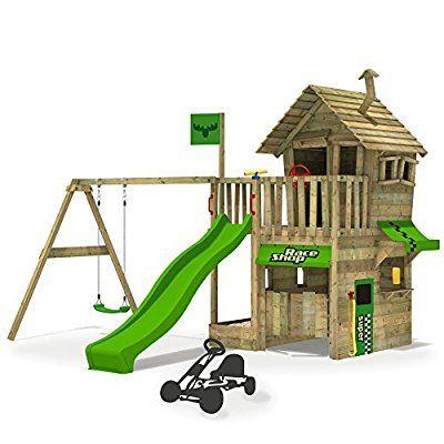 Epic FATMOOSE Kletterturm RebelRacer Spielturm Baumhaus Spielger t Garten mit Rutsche und Schaukel apfelgr ne Rutsche