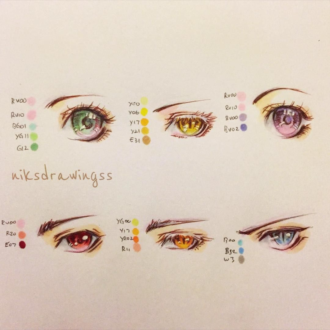 Some Of My Anime Eye Colors With Copic Markers Niksdrawingss Oc Animeeyes Mangaeyes Manga Anime Mydrawing As N Sketches Drawing Reference My Drawings