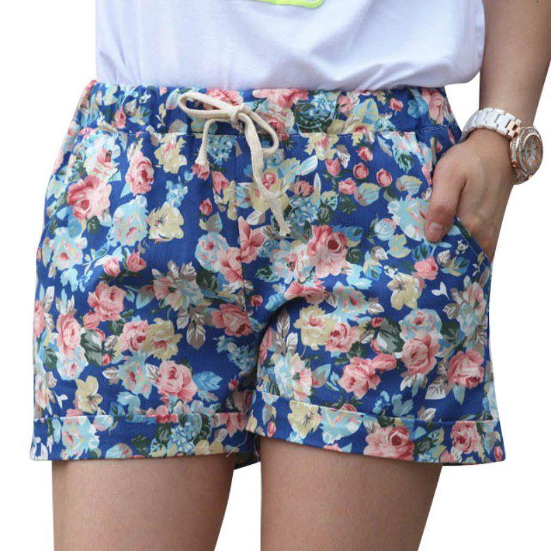 2016 Estilo Verão Shorts Moda Floral Elástico Na Cintura Com Cordão Calções  Mulheres(China (Mainland)) 99be493ce98
