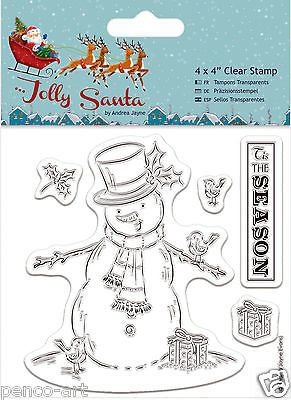 docrafts papermania jolly santa snowman christmas clear rubber stamp set of 5 - Santa Snowman 2