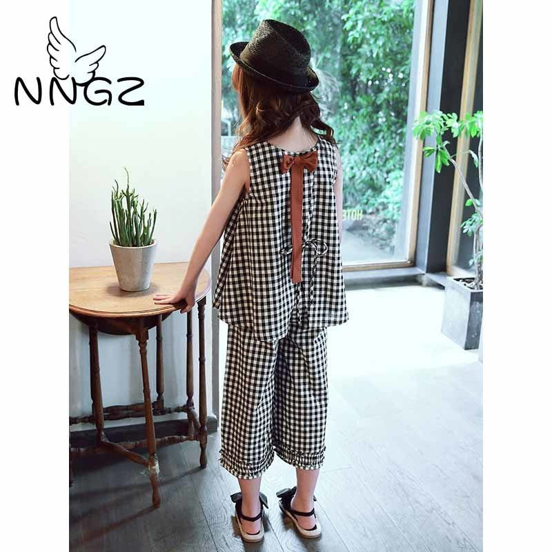 d4344c20eff NNGZ Girls Clothing Sets Kids Clothes Suit Summer Cotton Vest Two-piece  Sleeveless Children Sets Casual Fashion Girls Clothes Su