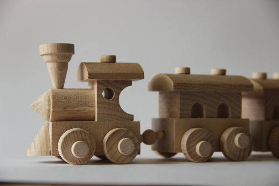 Wooden Train Toy Train And Three Cars Children Toy Eco