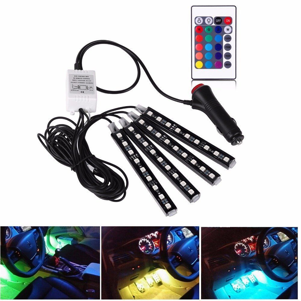 Car Under Dash Lights Rgb 12 Led Phone App Music Control Glow Strip Universal Fog Light Wiring Harness Ebay 82 Interior Kit Home Garden