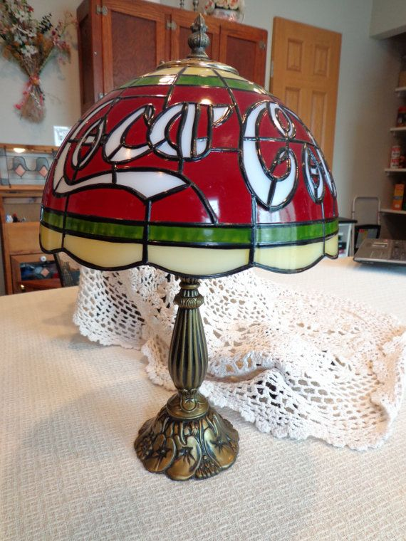Vintage Coca Cola Lamp / faux tiffany glass by ThePearlSwan ...