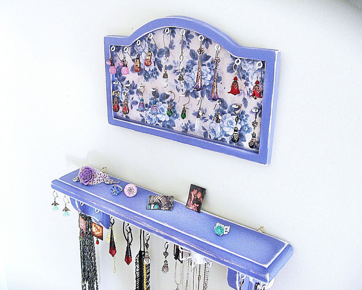 jewelry frame Blue Jewelry Holder Jewelry Organizer Jewelry